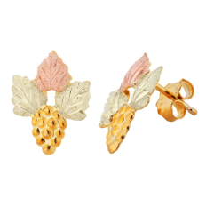 Black Hills Gold Classic Earrings with Leaves, for Pierced Ears or Non-Pierced Ears