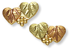 Black Hills Gold Heart Earrings for Pierced Ears