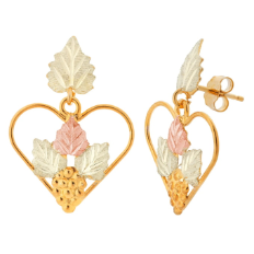 Black Hills Gold Earrings with Leaves in Hearts, for Pierced Ears