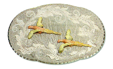 Black Hills Gold and Silver Belt Buckle with Pheasants