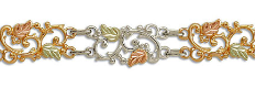Sterling Silver Bracelet with Black Hills Gold Leaves