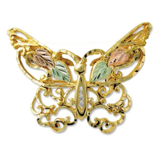 Black Hills Gold Butterfly Brooch / Pendant