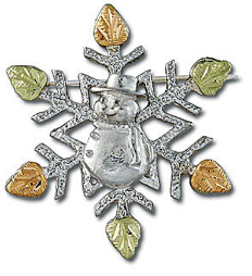 Sterling Silver Snowflake Brooch Pin with Snowman and Black Hills Gold Leaves