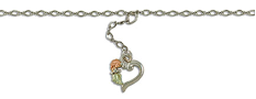 Sterling Silver Ankle Bracelet with dangling Heart and Leaves
