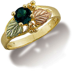 Black Hills Gold Ladies Ring with Synthetic Birthstone or Helenite
