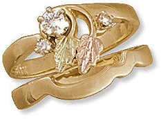 L. Ladies Black Hills Gold Wedding Set with Engagement Ring