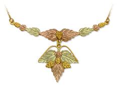 Black Hills Gold Necklace with Large Multi-leaf Pendant