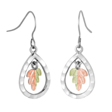 Black Hills Sterling Silver Teardrop Earrings with Leaves