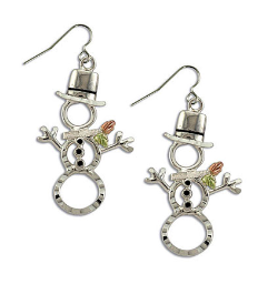 Sterling Silver Snowman Earrings with Black Hills Gold Leaves