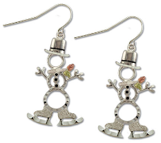 Sterling Silver Snowman Earrings with Skating Snowmen Black Hills Gold Leaves