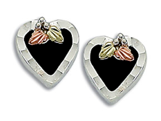 Sterling Silver Heart Earrings with Onyx