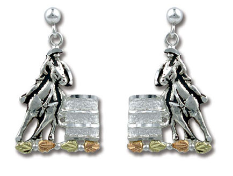 Sterling Silver Barrel Racer Earrings with Black Hills Gold Leaves