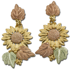 Black Hills Gold Sunflower Earrings with Leaves