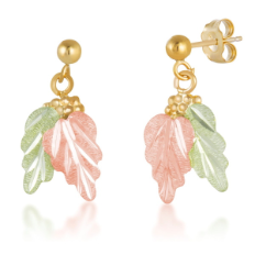 Black Hills Gold Earrings with Leaves and Grape Clusters for Pierced Ears