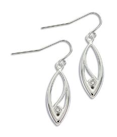 GG. Sterling Silver Diamond Earrings
