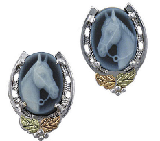 Sterling Silver Horse Earrings with Black Hills Gold Leaves and Horse Cameo