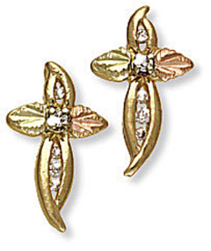 Black Hills Gold Cross Earrings with Diamonds