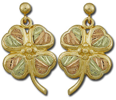 Black Hills Gold Shamrock Earrings