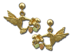 Black Hills Gold Hummingbird Earrings with Black Hills Gold Leaves, for Pierced Ears