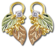 Black Hills Gold Earrings with Leaves and Diamond for pierced ears
