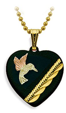 Black Hills Gold Hummingbird in Onyx Heart Pendant