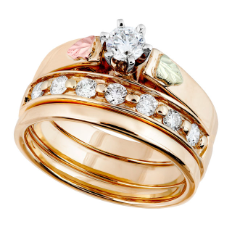 Z. Ladies Black Hills Gold Wedding Set with Engagement Ring
