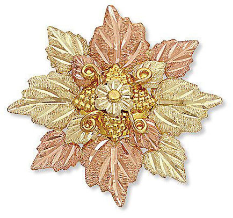 Black Hills Gold Brooch Pin with Leave Cluster