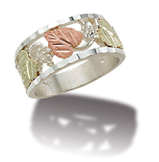 K3. Sterling Silver Ladies Band with Black Hills Gold Leaves