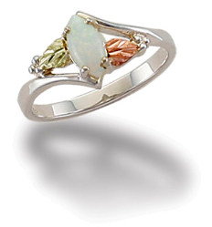 Sterling Silver Ladies Opal Ring with Black Hills Gold Leaves