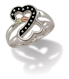 Sterling Silver Heart Ring with Antiquing and Leaves