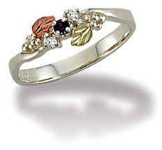 Sterling Silver Ladies Ring with Black Hills Gold Leaves and Birthstones