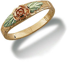 Black Hills Gold Daughters Ring with Rose and Leaves