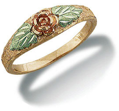 Black Hills Gold Mom or Daughters Ring with Rose and Leaves