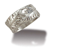 "Sterling Silver Ladies Ring with ""Leafwrap"" Silver Leaves"