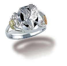 Sterling Silver Ladies Onyx Ring with Eagle and Black Hills Gold Leaves