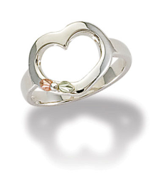Sterling Silver Heart Ring with Black Hills Gold Leaves