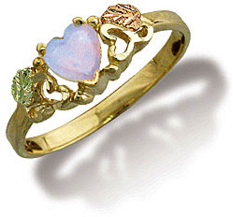 Black Hills Gold Ladies Heart Ring with Opal