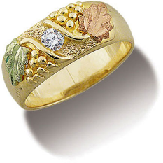Diamond Men's Black Hills Gold Ring