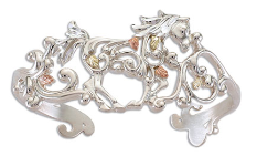 Sterling Silver Horse Cuff Bracelet with Black Hills Gold Leaves