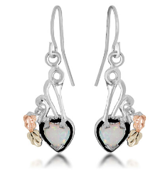 Black Hills Silver Heart Earrings with Opal Heart