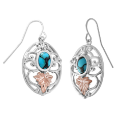Black Hills Silver Earrings with Gold Leaves and Turquoise