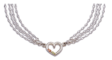 Sterling Silver 4-chain Heart Necklace with Black Hills Gold Leaves