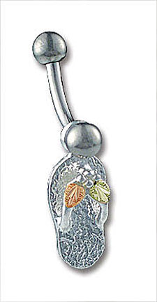Sterling Silver Flip Flop Sandal Belly Button Ring