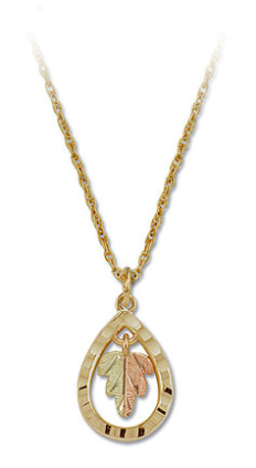 Black Hills Gold Teardrop Pendant with Leaves
