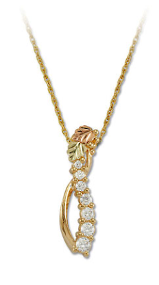 Black Hills Gold Journey Necklace with Cubic Zirconia and Black Hills Gold Leaves