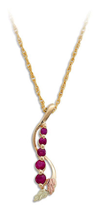 Black Hills Gold Journey Necklace with Rubies and Black Hills Gold Leaves