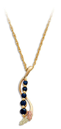 Black Hills Gold Journey Necklace with Sapphires and Black Hills Gold Leaves