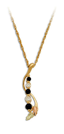 Black Hills Gold Journey Necklace with Cubic Zirconia and Sapphires
