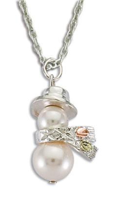 Sterling Silver and Pearl Snowman Necklace with Black Hills Gold Leaves