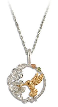 Sterling Silver Hummingbird Pendant with Black Hills Gold Leaves